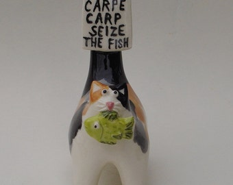 Carpe carp, seize the fish, ceramic cat miniature