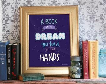 Neil Gaiman Quote Print, Neil Gaiman Poster, Book Quote, Instant Download, Printable, Fandom Art Print: Books Are Dreams