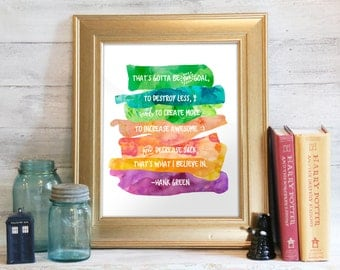 Digital Print, Instant Download, Fandom Print, Wall Art, Hank Green Quote, Nerdfighter, vlogbrothers: The Goal