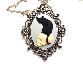 Black Cat on skull cameo necklace