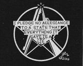Punk Patch Punk Patches DIY Crust Anarchist Anarcho Punk Anarchy Rocker Print Art Original No Allegiance to Lies Political Small Cloth Patch