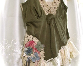 Boho Camisole, altered bohemian top, romantic sexy gypsy camisole, earthy olive tones, adjustable straps, SMALL