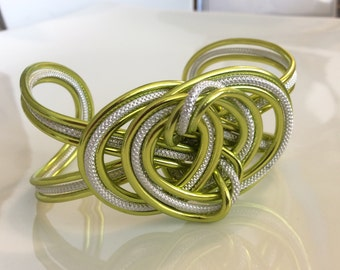 aluminun cuff bracelet, greeen with textured silver