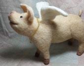 Flying Pig Needle Felted, Pigasus, Porky Flyer OOAK