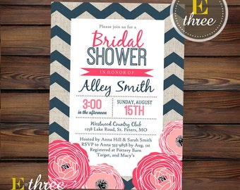 Bridal Shower Invitation - Modern Navy and Pink Floral Bridal Shower Invite - Printable - Linen and Chevron #1060