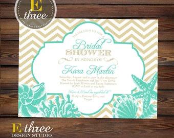 Beach Bridal Shower Invitation - Aqua Teal and Beige Sea Shell Wedding Shower Invitation - Chevron Nautical Shower