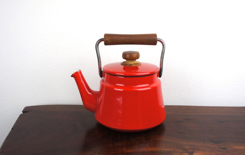 vintage dansk tea kettle red enameled steel large heavy tea - like this item