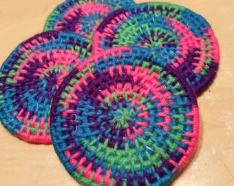 Handcrafted OOAK Yarn Coiled Coasters Colorful Home bar mug cup Decor In Pink Blue Green Purple Spring