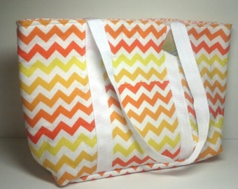 Yellow and Orange Ombre Chevron Tote with Orange Floral Lining