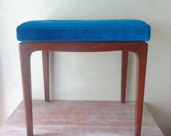 Retro Parker Furniture Bench Seat with Electric Blue Cushion