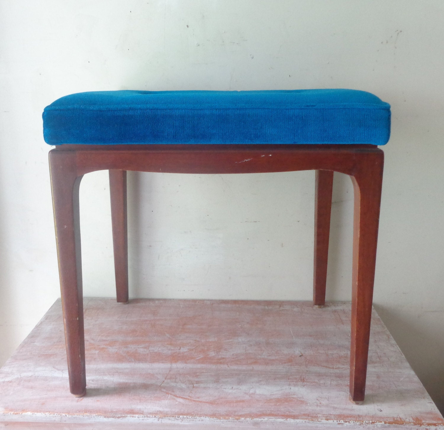 Retro Parker Furniture Bench Seat With Electric Blue