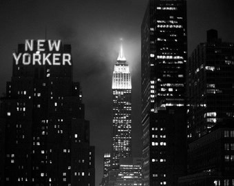 Empire State Building at Night - 8x10 Fine Art Photograph, Skyline, New York, Travel, NYC, Wall Art, Black and White