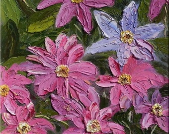 ORIGINAL Oil Painting Purple Flowers 23 x 30 Colorful Floral Textured Palette knife Purple Pink Green Leaves  ART by Marchella