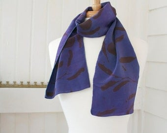 grape purple hand painted silk scarf with chestnut brown linden leaves
