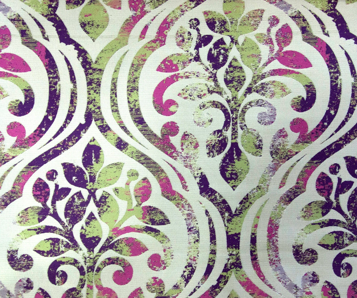 Purple Green Damask Fabric By Yard Beige Curtain Fabric