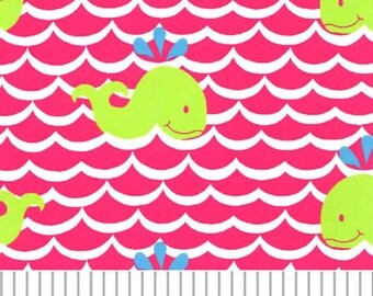 Fabric Finders Lime Whales on Pink Waves