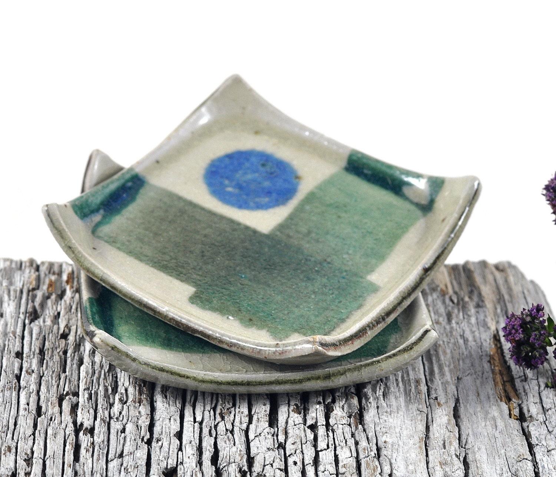 Square Dishes Handmade Pottery Ceramic Tableware Handpainted