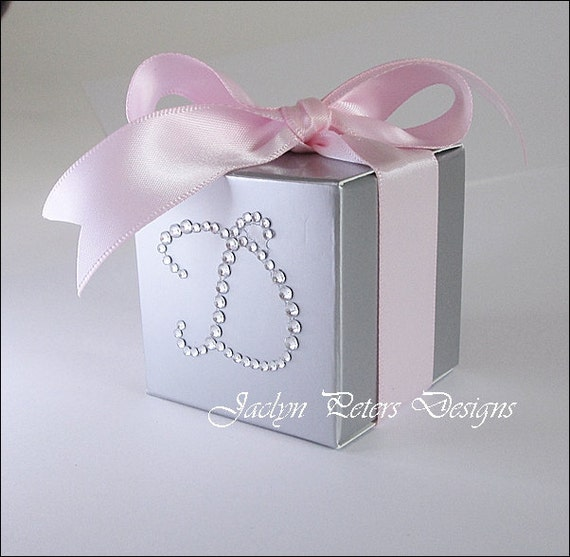 Items Similar To Personalized Favor Boxes Pink Silver Rhinestone Init