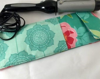 Curling Iron Case Flat Iron Holder - Riley Blake The Cottage Garden,  Main in Teal - Ready To Ship