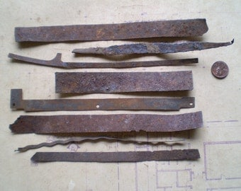 8 Rusty Metal Strips - Salvaged Supplies - Found Objects for Assemblage, Sculpture or Altered Art - Industrial Salvage
