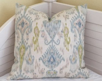 Khanjali Ikat Design in Glacier by Robert Allen Pillow Cover - on Both Sides - Square, Lumbar, Euro, Body Pillow Sizes