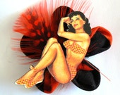 Burlesque Bettie Page Pinup Brooch