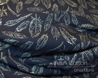 KNIT Jersey Cotton Fabric, Dress Fabric, Panache Profundo in Knit, Petal and Plume Collection, Art Gallery Fabric Designed Cotton Fabric