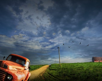 Decline of the Small Farm with Vintage Ford Pickup for Sale and Red Barn circled overhead by Turkey Vultures - A Landscape Photograph