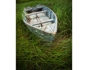 Old Weathered Wooden Row Boat abandoned in the Beach Grass on Prince Edward Island in Canada No. 2 A Fine Art Seascape Boat Photograph