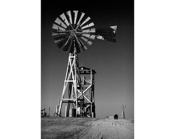 Windmill on a Prairie Farm in the 1880 Town Frontier Museum in South Dakota No.3172 A Black and White Fine Art Landscape Photograph