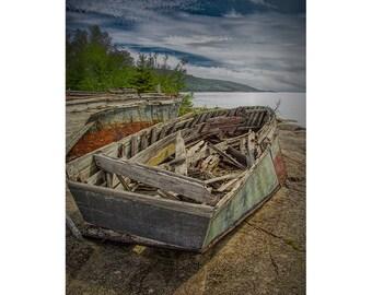 Old Boat Shipwreck at Neys Provincial Park near Marathon Ontario Canada No.1737 a Fine Art Boat Seascape Photograph