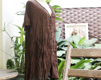 L-XL Comfy Roomy A-Shape Short Sleeves Blouse/ Short Tunic-  Choc Brown