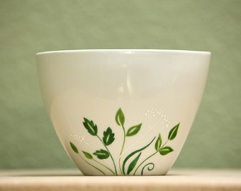 Hand Painted Bowl White  Ceramic green botanical minimalist kitchen decor serving dish