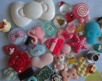 Sale--kawaii sweets cabochon decoden diy charm kit  318  more than 30 pcs---USA seller