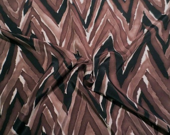 Shades of Brown and Black ZigZag Print Pure Silk Crepe de Chine Fabric--One  Yard