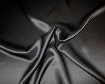 Jet Black Pure Silk Charmeuse Fabric--One Yard