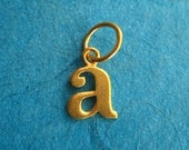 24K Vermeil Style Alphabet Letter A Initial Charm in Typewriter Style