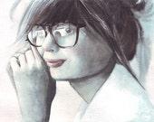 H002 Original watercolor art Girl with Reading Glasses by Helga McLeod