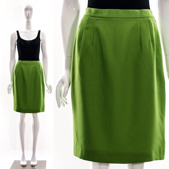 vintage green retro pencil skirt mini skirt midi avocado lime