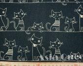 "Cats on the rope - 1 yard - cotton linen - 2 colors   - ,cat fabric ,Check out with code ""5YEAR"" to save 20% off"
