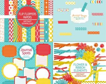 Digital Scrapbook Kit Scrapbooking Paper Digital Frame Clip Art  76 Items Flip Floppers