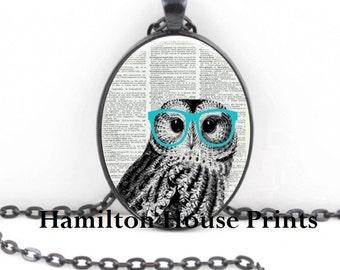Owl With Glasses Dictionary Art Print Pendant Dictionary Necklace Wearable Art Owl Necklace Original Art Work