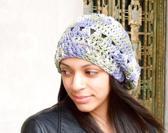 Crochet Cotton Slouchy Hat, Women, Teen, Multicolor, Tam, Spring Hat, Summer Hat