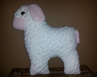 Vintage chenille lamb pillow