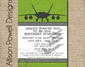 Jet Army Navy Marines Military Custom Printable Birthday Party Invitation