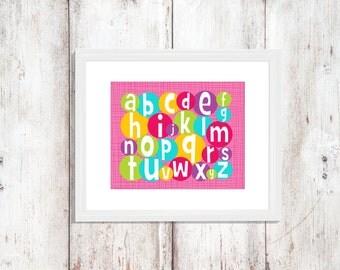ABC   Bright Bubble Alphabet   Nursery Art   Wall Art   Nursery Decor   5x7   8x10   11x14