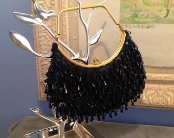 Black Evening Bag with Gold Frame Handle