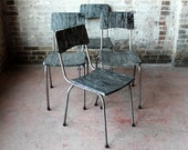Set of 2 Reclaimed Wood and Vintage Frame Chair Ebony Wood Steel Frame Bohemian Industrial Mid Century Modern Dining Chair Stacking Chair