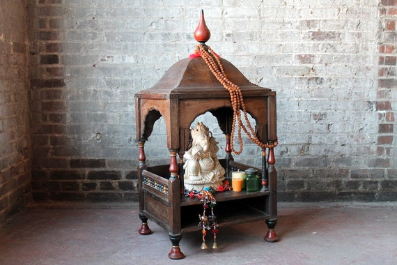 Antique Hindu Home Altar Cabinet Rajasthani Indian Hand Made