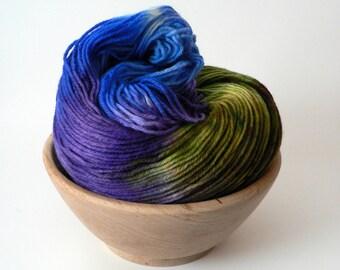 Handpainted Fingering Weight Superwash Merino Nylon Sock Yarn- Mystic 462 yards